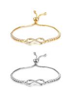 Wholesale Infinity Charms 5pcs - 5pcs Lot Adjustable Charm Bracelets Gold Silver Color Tennis Bangle Bracelet Fashion Cubic Zircon Infinity Bracelets For Women