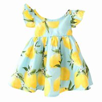 Wholesale Australia Dresses - Australia Style 2017 Summer New Girl Dress Lemon Print Flare Sleeve Backless Holiday Beach Dress Children Clothing H0114