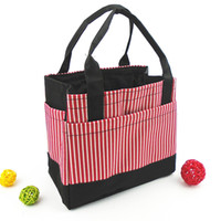 Wholesale Lovely Lunch Bags - camping picnic bag Japanese lunch bags square striped drawstring bag lovely Bento Lunch Boxes with small bags