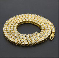 Wholesale Tennis Chains - Mens Gold Silver Plated Iced Out 20-30inch 1 Row Simulated Diamond Bling Tennis Chain Necklace Hip Hop Jewelry