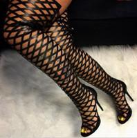 sobre o joelho gladiador boot sandals venda por atacado-Coxa Alta Gladiador Sandálias Botas Mulheres Sexy Peep Toe Netted Cut-out Sobre O Joelho Botas Gladiador Botas de Salto Alto Sandália Preta