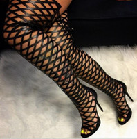 Wholesale thigh high leather gladiator sandals for sale - Group buy Thigh High Gladiator Sandals Boots Women Sexy Peep Toe Netted Cut out Over Knee Gladiator Boots High Heel Sandal Boots Black
