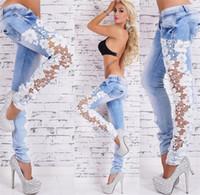 mulheres blue sky blue venda por atacado-Mulheres Jeans Denim Luz Azul Patchwork Lace Floral Mulheres Jeans Oco Out Casual Denim Calças Lápis Fancyland Rendas Jeans Céu Azul Plus Size