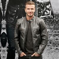 Wholesale Mens Locomotive Leather Jacket - leather jacket jackets men Locomotive Leather Slim Sheep Mens Fashion Outerwear Windbreaker Men' S Thin Jackets Hooded Casual Sporting Coat