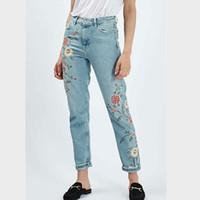 Wholesale Women Pattern Winter Trousers - Wholesale- Vintage embroidery jeans female pants winter Pockets straight jeans women bottom Plus size women Denim trousers embroider
