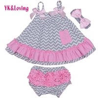 Wholesale Swing Dress Bloomers Set - Wholesale- Hot selling Girl Clothing Set Newborn Dress Sling Bat Shirt Ruffle Bloomers Short Swing Top Cartoon Kids Clothes 2016 New Summer