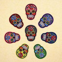 Wholesale Sew Skull Patches - Patches Clothes DIY Flowered Skull Embroidered Patches For Clothing Fabric Badges Sewing Patche