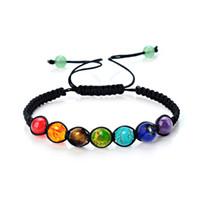 Wholesale Seven Bangles - 2017 Hot Seven Chakras Bracelets Fashion Volcano Stone Woven Bracelet Jewelry 4 Styles Pumice Energy Stones Bangle 6 8 10 mm Bracelet