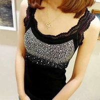 Wholesale T Shirts Rhinestones Wholesale - Wholesale- Women Tees Rhinestone Lace Sleeveless Solid Vest Top T-Shirt O-Neck