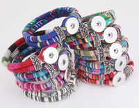 Wholesale Diy Wrap Bracelet - New NOOSA colours ginger snap Charm Bracelets 18mm womens braided rope Snap Button bangle wrap Bracelet Wristband For fashion DIY Jewelry