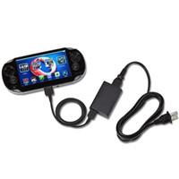usb kablo ücret transferi eşitleme toptan satış-2 in1 USB Şarj Kablosu Şarj Transferi Data Sync Kordon Hattı için Sony psv1000 Psvita PS Vita PSV 1000 Güç Adaptörü Tel