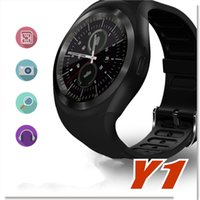 Wholesale y1 smart watch online - 2017 Hot Sell Y1 smart watches Latest Round Touch Screen Round Face Smartwatch Phone with SIM Card Slot smart watch for IOS Android