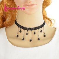 Wholesale Gothic Bead Necklace - Gothic Style Punk Tattoo Choker Stretch Necklace Black Braided Rope Chain Choker Necklace with Black Beads