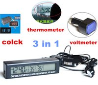 Wholesale Car Clock Thermometer Voltage - LCD Digital Auto Car 3in1 Clock Thermometer Temperature Monitor Meter In Out Screen Battery Voltage Clock
