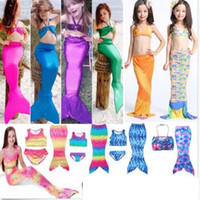 Wholesale 4t Girls Swimsuit - Girls Swimmable Mermaid Tail Swimsuit Bikini Swimwear Costume Bathing Suit Children Shell Bikini Fish Scale Brief Mermaid Tail KKA1941