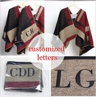 Wholesale Customized Letter - New Customized Women Pashmina Monogramed Blanket Poncho Cashmere Wool Personalized initials Scarf plaid poncho cape winter Scarves & Wraps