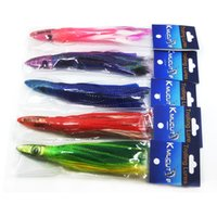 Wholesale Trolling Feathers - mixed color Resin head soft octopus skirt With feather bait tackle tuna sea trolling fishing lure 6.5 inch 35g