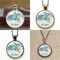 Wholesale British Necklace - 10pcs St John Map British Virgin Island Art Print Necklace keyring bookmark cufflink earring bracelet