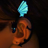 Wholesale Dragon Ear Stud - The Dragon Ear Cuff Ear Cuff GLOW in the DARK black Plated dragon Ear clip earrings Stud Earrings WOMEN girls boys gift 3 colors