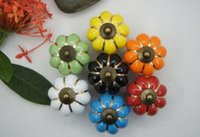 Wholesale 7 Colors Pumpkins Kitchen Cabinets Knobs Bedroom Cupboard Drawers Ceramic Door Pull Handles With Screws cm