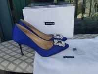 Wholesale Dress Pumps Rhinestone - Hot 2017 Luxury Brand Women Satin Rhinestone square buckle Wedding Shoes High Heels Pointed Toe Pumps Woman Shoes 9cm 6cm 1.5cm heel 41