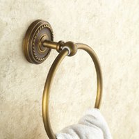 Wholesale Towel Ring Bathroom Accessories - New Arrival Antique Style Wall Mount Towel Ring Brass Bath Towel Holder Bath Hardware Bathroom Accessories
