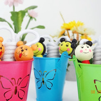 Wholesale Fitness Items - Lovely Kids Jump Ropes Wooden Handle Cartoon Animals Skipping Ropes Cute Sport Bodybuilding Gym Equipment Fitness Toy Party Favor Supply