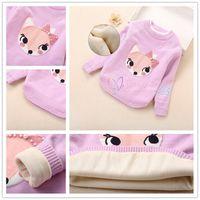 Wholesale Wool Sweaters For Kids - Wholesale Girls Pullover Fox Sweater 3 colors Korean Style Kids Sweaters for girls Children Wool Clothing Girls Cardigans LA331-2