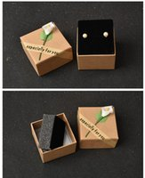 Wholesale Small Boxes For Wedding Favors - 100pcs 5.5x5.5x3.5cm Small Square Party Wedding Favors Retro Kraft Paper Square Box With Flower for Earring Ring Display