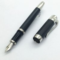 Wholesale Stainless Steel Fountain Pen Nib - Wholesale- Luxury mb black blue color Fountain Pen Stationery metal writing pens for gifts free shipping(M nib)
