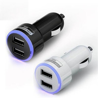 Wholesale car charger for sale - 100pcs White Black Led Light V A Port Dual USB Car Charger for iPhone for samsung s3 s4 s5 s6 S7 for htc mp3 gps