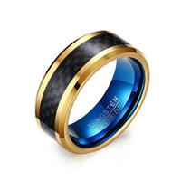 ingrosso bande blu di nozze di tungsteno-Fede nuziale in carburo di tungsteno Jewlery Anello da fidanzamento a fascia da uomo in acciaio placcato oro blu con fibra di carbonio nera inaly 8MM