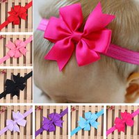 Wholesale Pink Flower Hair Band - Wholesale- 2016 Infant Girls Kids Cute Flower Hair Bow Band Headwear Baby Accessories Headband 8O5V