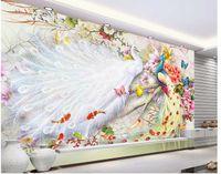 Wholesale popular bird - Popular rich bird watercolor peacock peony figure flower bird Chinese TV backdrop wall
