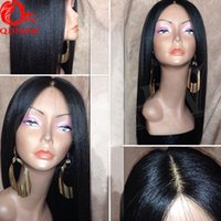 peluca de seda yaki al por mayor-Base de seda Peluca llena de encaje Yaki Liso recto brasileño Ligero Yaki Seda Superior Pelucas de cabello humano Sin cola para mujeres negras