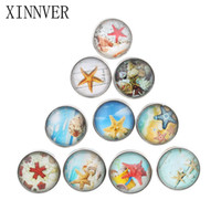 Wholesale Starfish Jewelry Sets - Free Shipping DIY Jewelry Mixed Colors 18mm Starfish Glass Snaps Fit button snaps Bracelets Xinnver Snap Jewelry or necklace ZB314
