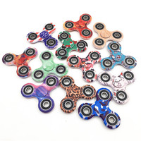 Wholesale Plastic Beyblades - New Camouflage Spinning Top Tri Fidget Hand Spinner Finger Tri-Spinner ABS Gyroscope Classic Beyblades Fidget Relieve Stress toy