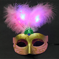 Wholesale Handmade Masquerade Masks - New LED Light Feather Party Masks Handmade Venetian Masquerade Dance Party Mask Novelty Evening Party Masks Christmas Halloween Feather Mask