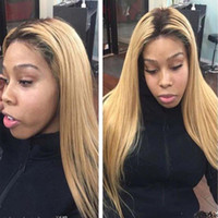 Wholesale Blonde Remy Wig - Pre Plucked Ombre Blonde #1B 27 360 Lace Frontal Wig With Baby Hair Bleached Knots Brazilian Hair Honey blonde 360 Frontal wigs