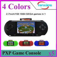 Wholesale Dual Video Game - 5PCS 16 Bit Video Games Player PXP3 Slim Station Pocket Game Handheld Game Console+Dual sim Card+ Gift Box! YX-PXP3