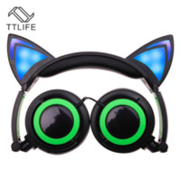 Wholesale Wireless Headsets For Laptops - Earphones 3.5mm LED Flashing Glowing Cat Ear Headphones Gaming Headset Earphone with LED light For iPhone 6 PC Laptop Computer Mobile Phone