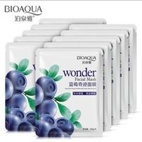 Wholesale Wholesale Blueberry - 50Pcs lot Bioaqua Face Mask Blueberry Wonder Silk Facial Mask Moisturizing Whitening Oil-control Makeup Skin Care