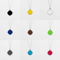 Wholesale Fashion Discs - Fashion Women Monogram Blank Initial Disc Necklaces Pendants Monogram Blanks Necklace Enamel Disc Quatrefoil Clover Pendant Long Necklace