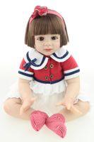 leben größe baby puppen groihandel-Silikon Reborn Puppe sieht aus wie echtes Baby 24 Zoll Mädchen Reborn Baby Puppe Life Size Baby Spielzeug für Mädchen Mode fertig Puppe
