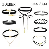 ZOEBER 8 PCS / Set New Gothic Tattoo Leather Choker Necklaces Colar de colar de couro preto colar corda de bowknot Hollow Out Black