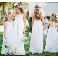 Wholesale Cheap Little Girls Bridesmaid Dresses - White Lace Junior Bridesmaids Dresses Halter Empire Long Little Girls Wedding Party Gowns Cheap Free Shipping