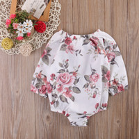 Wholesale Little Princess Baby One Piece - baby clothes factory cute infant toddler baby floral pink princess romper little girl ruffles collar long sleeve gauze one piece clothing