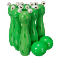 Wholesale Wooden Bowling Ball Skittle Animal Shape Game For Kids Children Toy Green Red