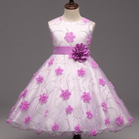 Wholesale Children S Wedding Gowns - Flower Girl Dresses Petal Dress Wedding Easter Bridesmaid For Baby Children Toddler Teen Girls Tutu Flower Dress DK1044CR