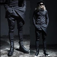 Wholesale fashion show clothing - Wholesale-New men's pant male fashion casual skirt pant trousers men stage show punk slim fit boots black pant men autumn clothing A28